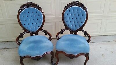 Victorian Matched Pair Of Rosewood Chairs. Heavy Carving
