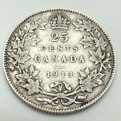 1913 Canada 25 Silver Twenty Five Cents Quarter King George V Canadian Coin G152