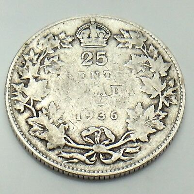 1936 Canada 25 Silver Twenty Five Cents Quarter King George V Canadian Coin G155