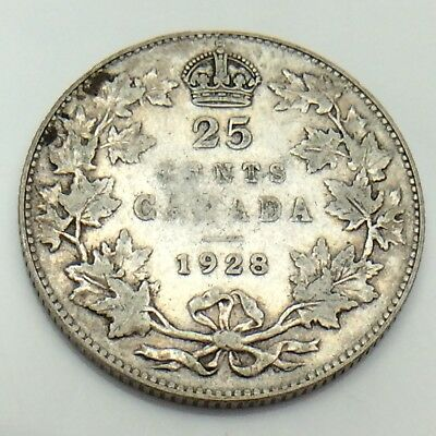 1928 Canada 25 Silver Twenty Five Cents Quarter King George V Canadian Coin G156