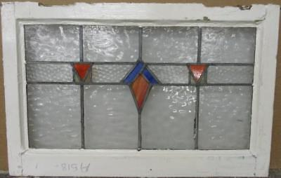 "MID SIZED OLD ENGLISH LEADED STAINED GLASS WINDOW Geometric Band 26"" x 17"""
