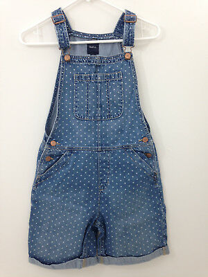 Gap Kids Shortalls Girl's XXL Polka Dot Blue Denim