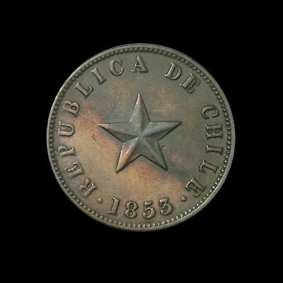 1853 Chile Copper Centavo - Large Star - Coin Rotation