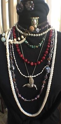 Vintage Lot Of Jewelry - 9 Necklaces, 1 earrings, rice pearls, stone beads, more