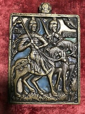 Rare 19th Century Bronze and Enamel Russian Icon Two Crusaders