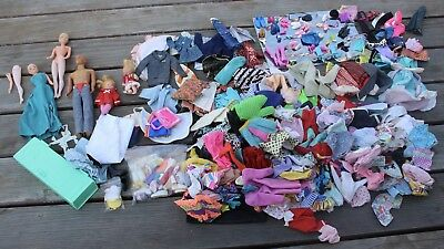 Huge Vintage Mattel Barbie Clothing Shoes Dresses Accessory Lot w/ 1968 Ken Doll