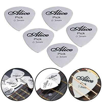 5Pcs Metal Guitar Pick 0.3mm Thin Durable Silver Color Professional Bass Uk O8B5