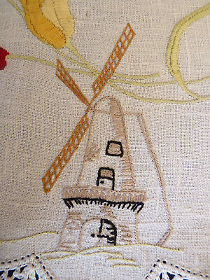 WINDMILLS & TULIPS Hand Embroidered Linen Large Doily Table Centre  VINTAGE