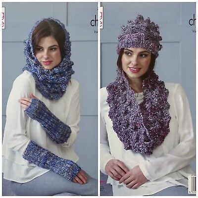 KNITTING PATTERN Ladies Hat Snood Cowl & Fingerless Mitts Chunky King Cole 5191