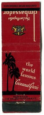 THE COCOANUT GROVE and LOS ANGELES AMBASSADOR - Vintage Used Matchbook