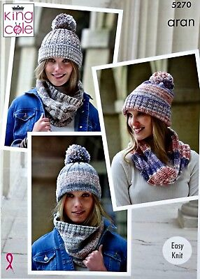 KNITTING PATTERN Ladies Easy Knit Hats and Cowls Drifter Aran KingCole 5270