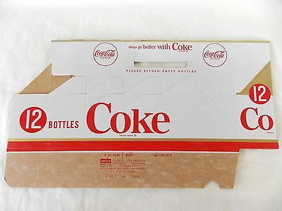 Vintage Unopened Coke Coca Cola Paper Carton for (12) 6 Oz Bottles #4729