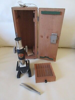 Vintage Merit Microscope Set with wooden case and key and Accessories
