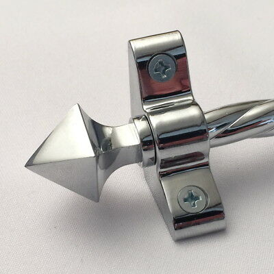 "POLISHED CHROME ROPE STAIR ROD PYRAMID FINIAL 3/8 x 28.5"" SET OF13 (R03ROPY)"