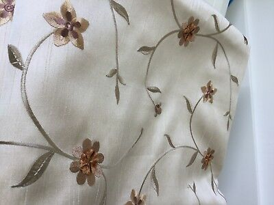 Pair of Good Quality Lined Curtains Floral Design in Beige/Gold/Copper