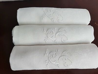 5 Stunning XXL Antique French Linen Napkins hand monogram monogrammed GG WHITE