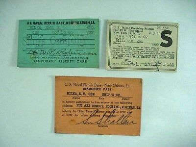 3 U. S. Navy Liberty / Pass Cards - Repair Base New Orleans La + New York Wwii