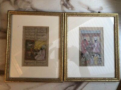 A Pair Of Beautiful Antique Qajar Dynasty Sheets Of Paper Books 19th Century