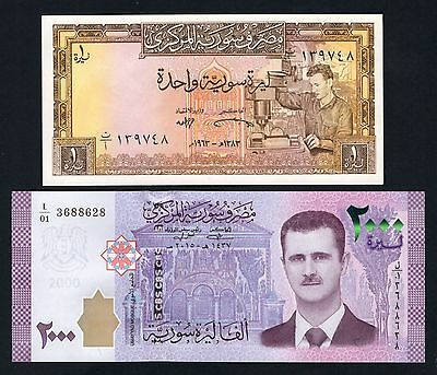 TWO BILLS 2000 SYRIAN POUNDS 2015/17 & 1 Livre Syriennes 1963 Syria Syrie UNC