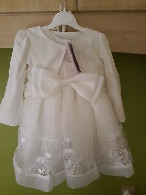 New Girls Ivory Lace Christening Party Dress 9M with Bonnet Jacket