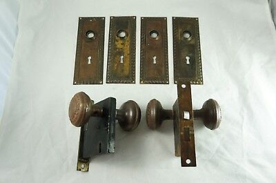 Matching set: 4 antique door plates, 2 knobs, two mechanisms - beaded, c. 1920s