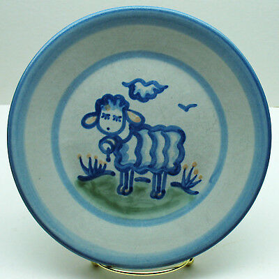"""M.A.Hadley Sheep 7.5""""Salad Plate Country handpainted stoneware pottery"""