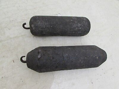 Two Antique Cast Iron Grandfather Longcase Clock Weights