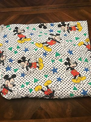 Vintage Mickey Mouse Stars Dots Triangles Fitted Sheet Rare