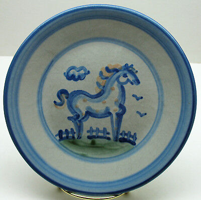 """M.A.Hadley Horse 7.5""""Salad/Dessert Plate Country handpainted stoneware pottery"""