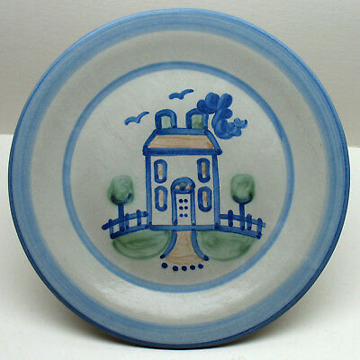 """M.A.Hadley House w/trees 7.5""""Salad Plate Country handpainted stoneware pottery"""