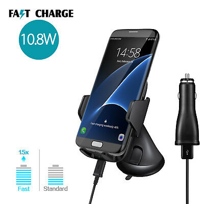 Black Fast Qi Wireless Car Charger Suction Holder For iPhone X Samsung Galaxy S9
