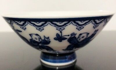 Vintage Chinese Blue And White Porcelain Children Figures Bowl