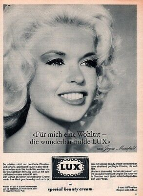 1964 Ad  Lux Soap Jayne Mansfield Beauty Actress Star