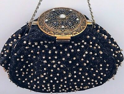 Stunning Rare Victorian Compact Top Floral Purse Gold Toned Jeweled Frame