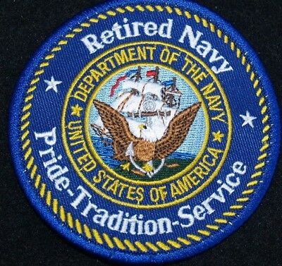 "US NAVY  ""RETIRED NAVY""   PATCH  Iron / Sew-on Patch  3 inch patch"
