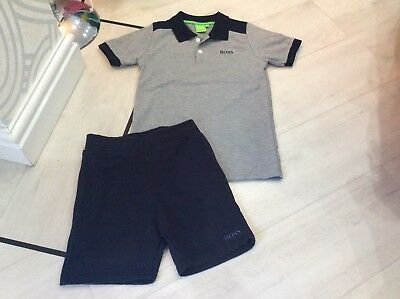 Boys Designer Hugo Boss Outfit Polo And Shorts Age 6 Years Good Condition
