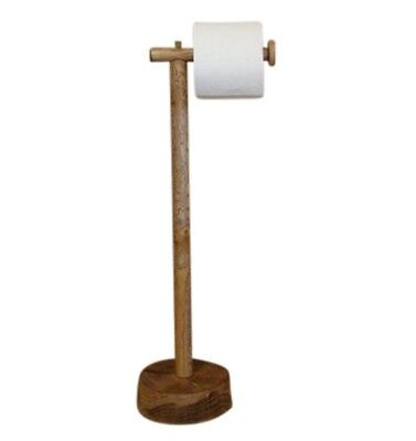 Free Standing Antique Bathroom Pedestal Toilet Paper Holder Stained Brown Wood