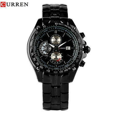 CURREN Full Stainless Steel Strap Men Military Quartz Wrist Watch Reloj Bracelet