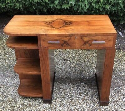 Superb Rare Small Walnut Art Deco Writing Desk Very Clean 2 Man Delivery