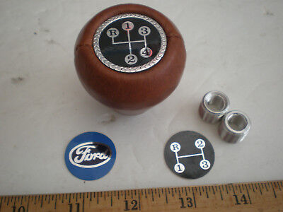 Vintage Ford 3 speed/ 4 speed brown leather shift knob with adapters