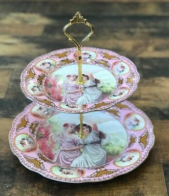Romeo & Juliet 2 Tier Candy/pastry Serving Dish Pink