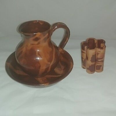 Brown Swirl Pottery Bathroom Set Pitcher Bowl Toothbrush Holder Unsigned