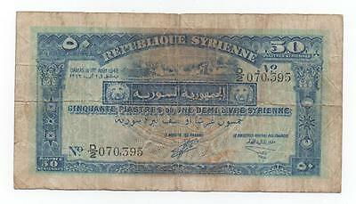 Syria Syrie 50 Piastres 1942 Pick 52 Look Scans