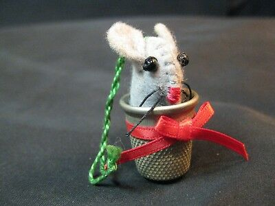 Collectible Thimble, Tiny Mouse Peeking from a Thimble, Christmas Ornament?