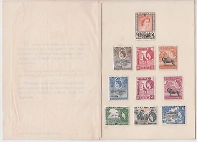 Stamps 1954 Kenya Uganda Tanzania various QE2 issues in presentation folder