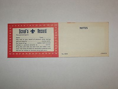 - Vintage New Boy Scout Personal Savings Record Card