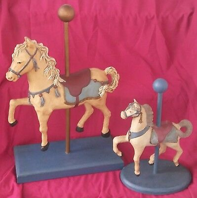 """2 Vintage Hand Cut And Carved Horse Carousel Statue 20"""" High And 13"""" High"""