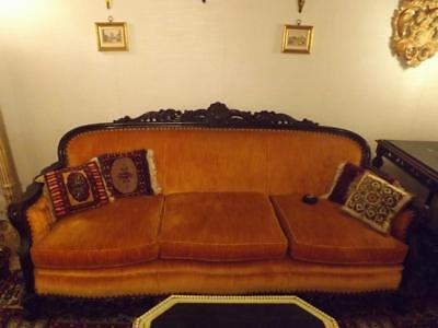 """Antique Victorian Carved Wood Couch 3 Cushions 81"""" Decorative Nail Heads"""