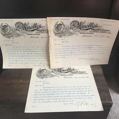 Vintage Lot of 2 E.P. Mueller Letterhead Milwaukee WI Dairy Brewers Beer