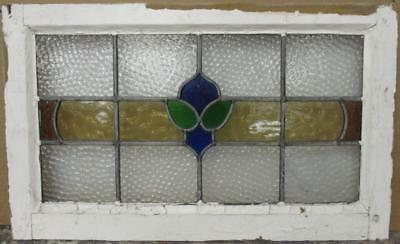 "MID SIZED OLD ENGLISH LEADED STAINED GLASS WINDOW Colorful Band 26.25"" x 16"""